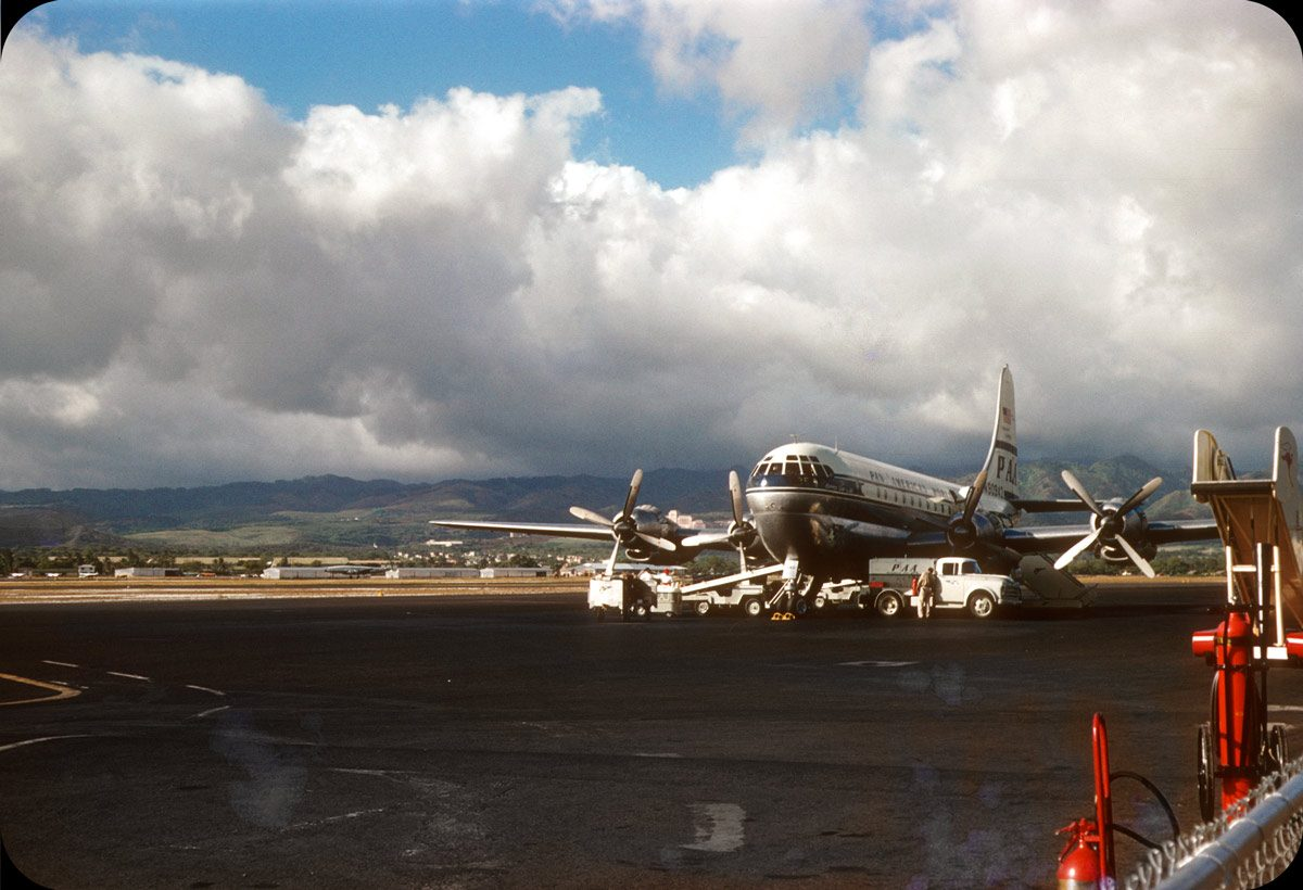 Honolulu Airport Tarmac – 1956 Pan Am Stratocruiser, Clipper Glory of the Skies.