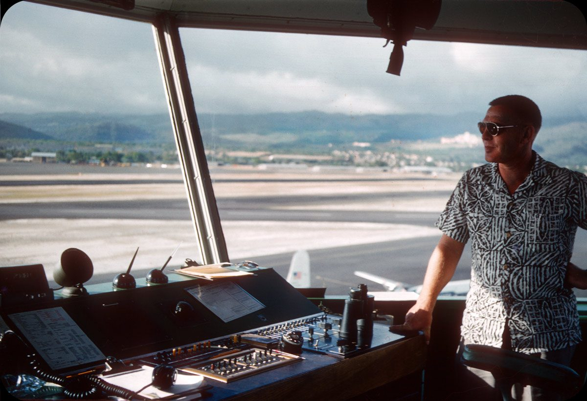 Honolulu Airport Tower Interior – 1956 British RAF pilot during Honolulu stopover on way to New Zealand.