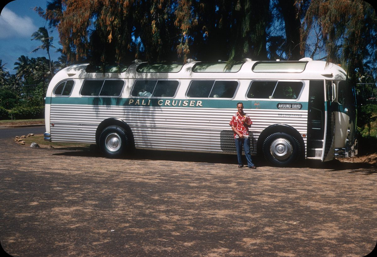 Around Oahu, Honolulu – 1956 Pali Cruiser from Allen Trade Wind Tours. Air-conditioned bus tour for $5.22 plus tax.