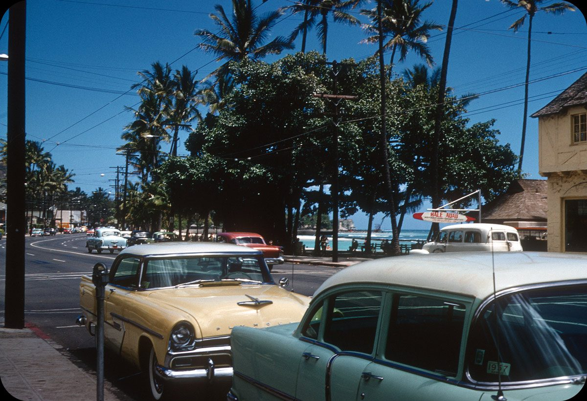 Honolulu – 1956 Waikiki Beach from Kalakaua Ave. near Kuhio Beach? Hale Auau Surfboards