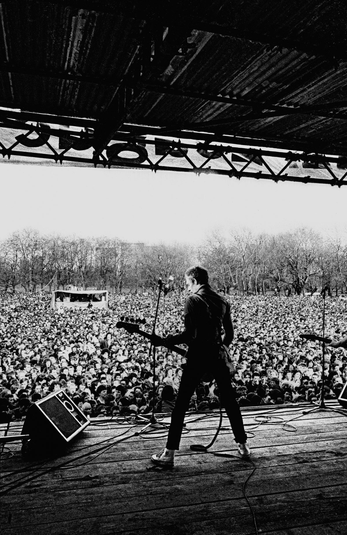 Paul Simonon of the Clash performs at the Rock Against Racism concert at Victoria Park, London in April, 1978 Photograph: © Syd Shelton