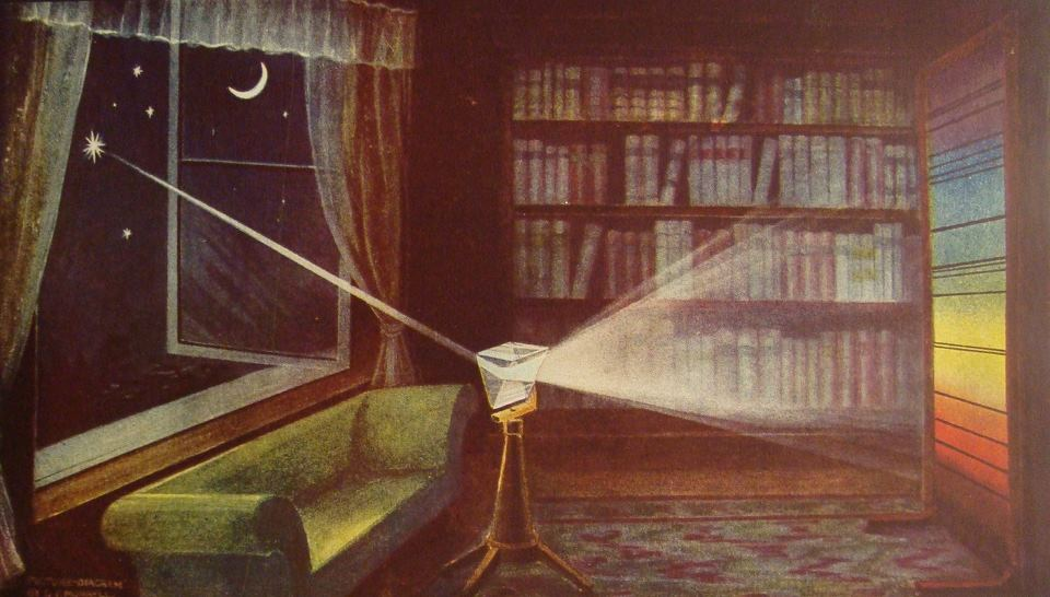Starlight through a prism. Illustration by G.F. Morrell, 1922