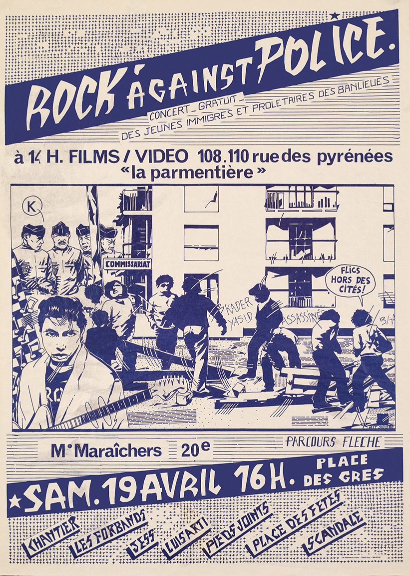 A poster for a 'Rock Against Police' concert in Paris, 1980 Photograph: © Bertrand Huet / Tutti/Last Siou - Collection François Guillemot