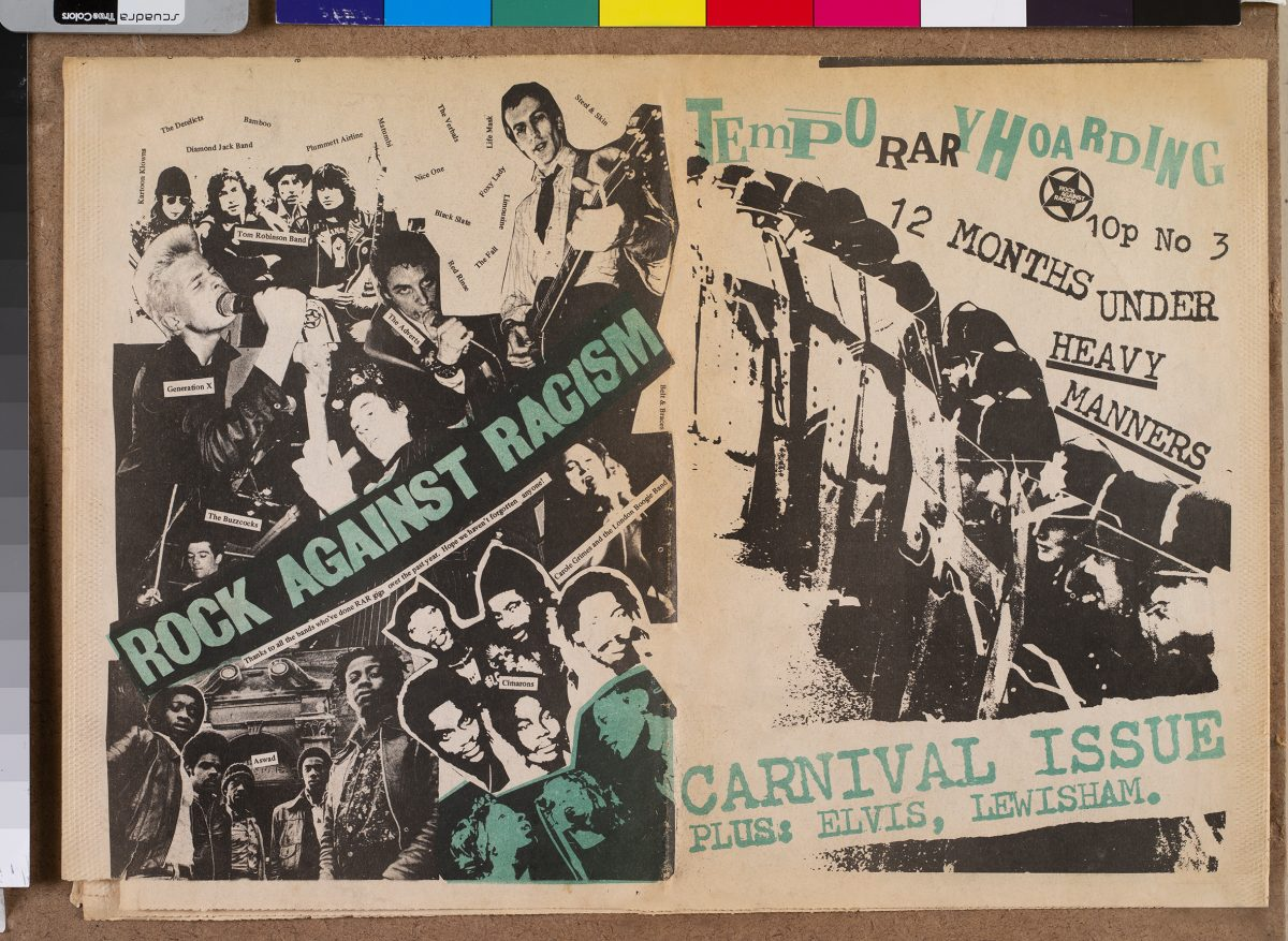 The cover of Temporary Hoarding fanzine, the Rock Against Racism Carnival issue, 1978 Photograph: © Bertrand Huet / Tutti/Collection particulière