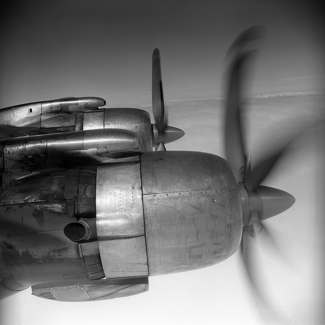 from the airplane window may 1959 propeller engines, dc-7c airplane
