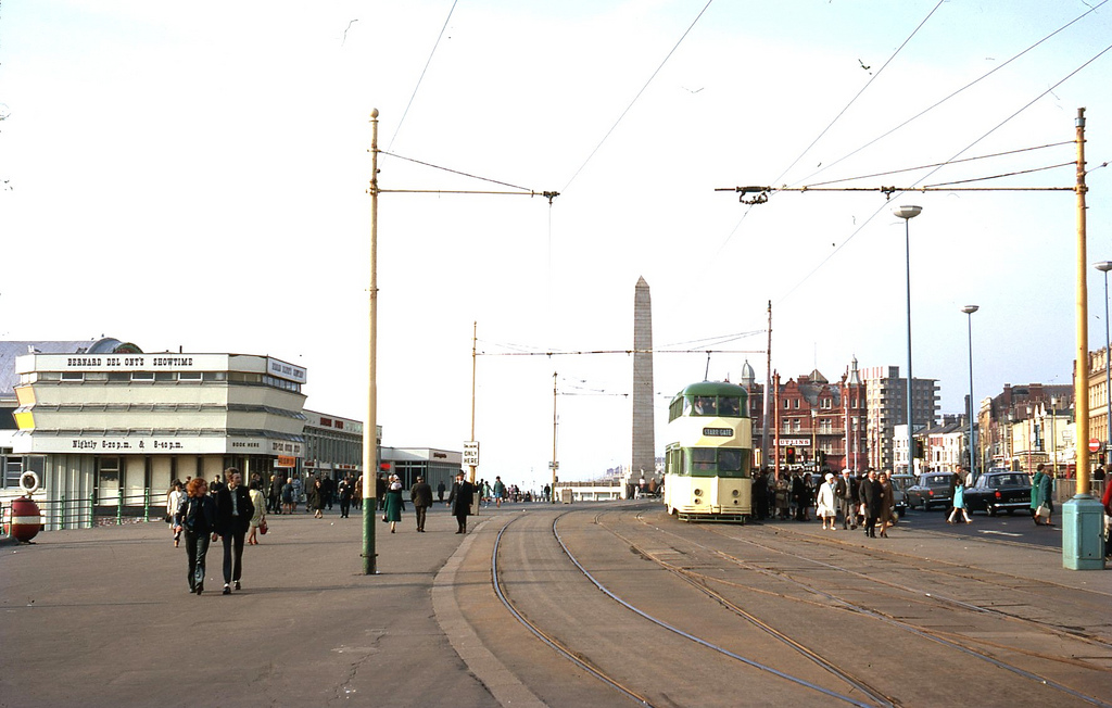 1969 BLACKPOOL Boarding point for trams on the Promenade at Blackpool