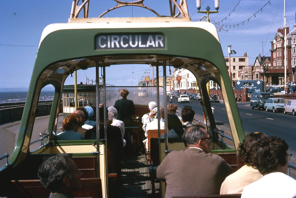 1969 BLACKPOOL Open boat car for tourists, Promenade Blackpool