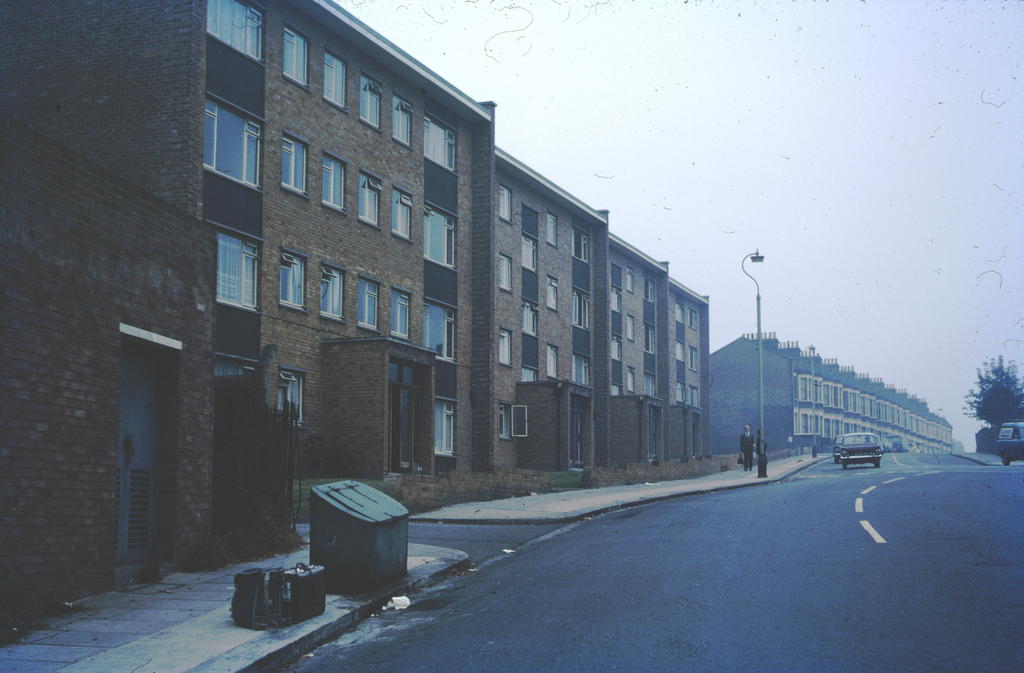 1969 MURKY MORNING AT NUNHEAD St.Asaphts Court, Nunhead, London, England. (Note the sand box for winter snow)
