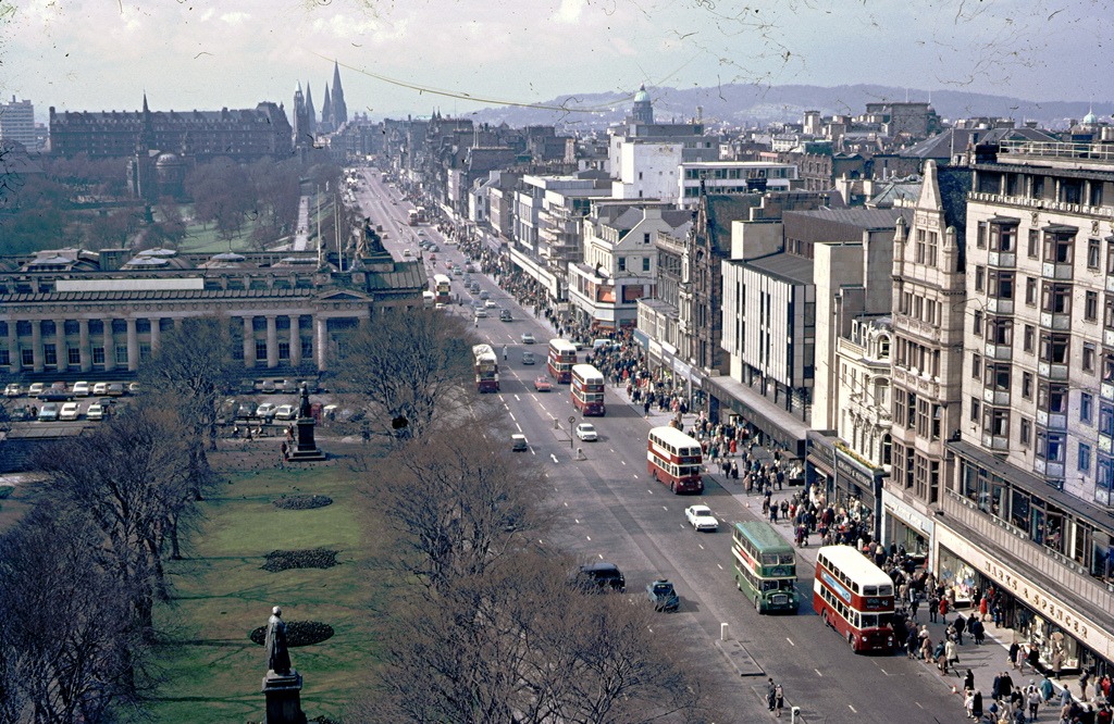 1971 EDINBURGH, SCOTLAND Princes Street, Edinburgh, Scotland, taken from the Scott Monument towards the North.