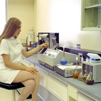 Technicians at the Government of Alberta Dairy and Food  Canada Laboratory (1970)