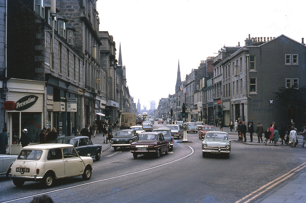 Aberdeen Street scene, taken on 9 September 1969 on Kodachrome.