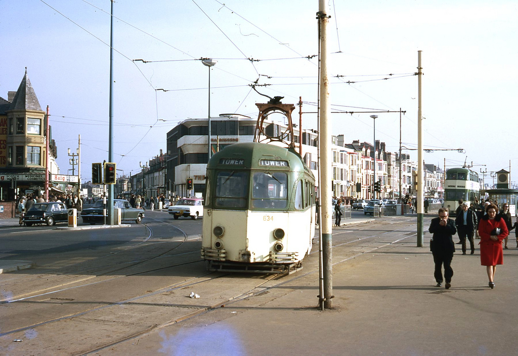 Brush railcoach No 634 turns into promendade at Manchester Square from the Depot line. Taken on Kodachrome on 24 July 1969.