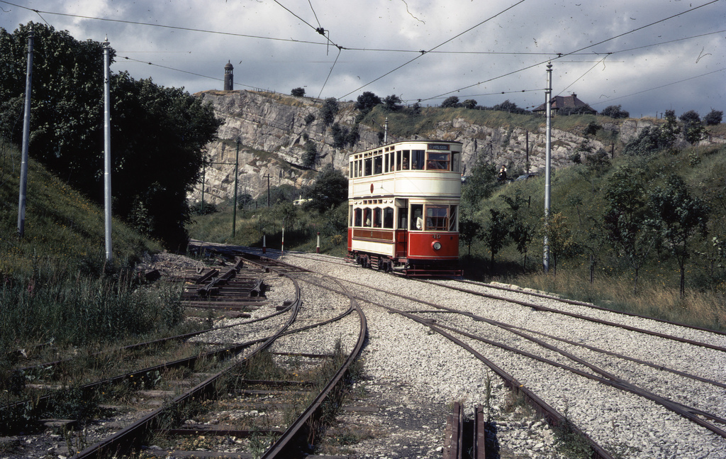 Crich Stand and tram track from depot fan, taken on Kodachrome on 20 July 1969.