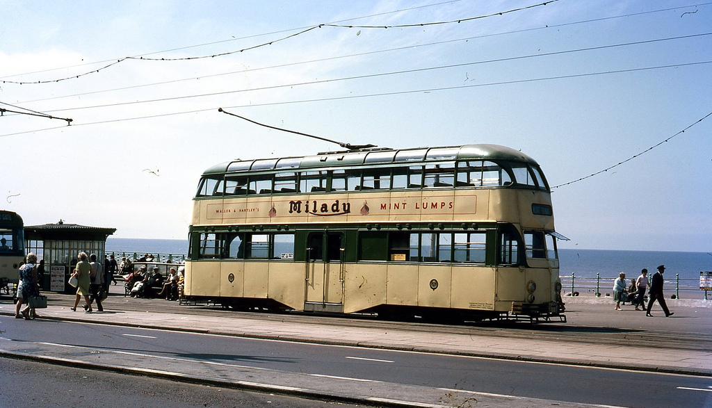Double deck tram on Blackpool Promenade. Taken on Kodachrome on 24 July 1969.