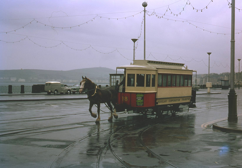 Douglas Corporation Horse tram Saloon No. 18 Isle of Man. Taken on Kodachrome on 26 July 1969,