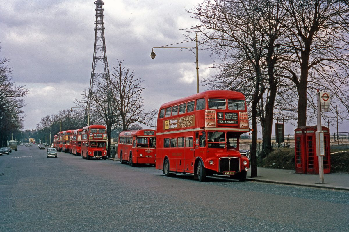 London Transport buses lined up at Crystal Palace, taken on Kodachrome on 2 Apl 1971