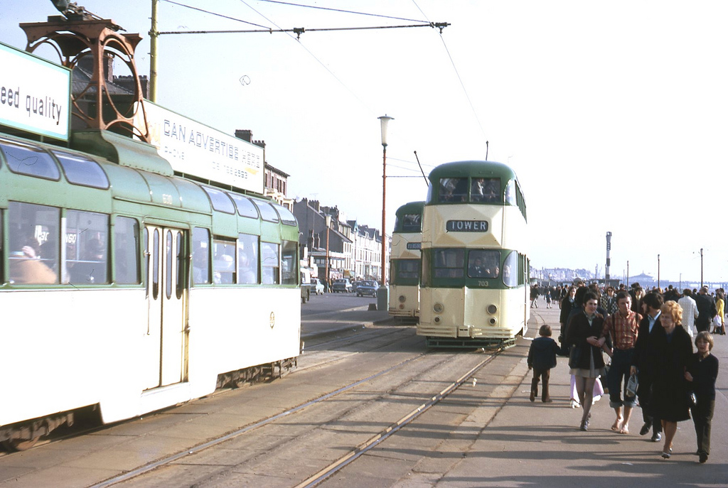 Trams on the Promenade at Blackpool, taken on Kodachrome on 11 Apl 1971.