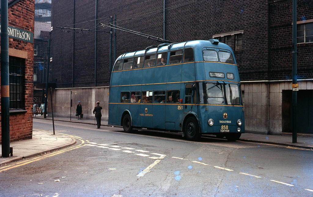 Walsall Corporation Trolleybus No.858 at terminus, taken on Kodachrome on 18 July 1969. Walsall trolley buses ceased 3 Oct 1970