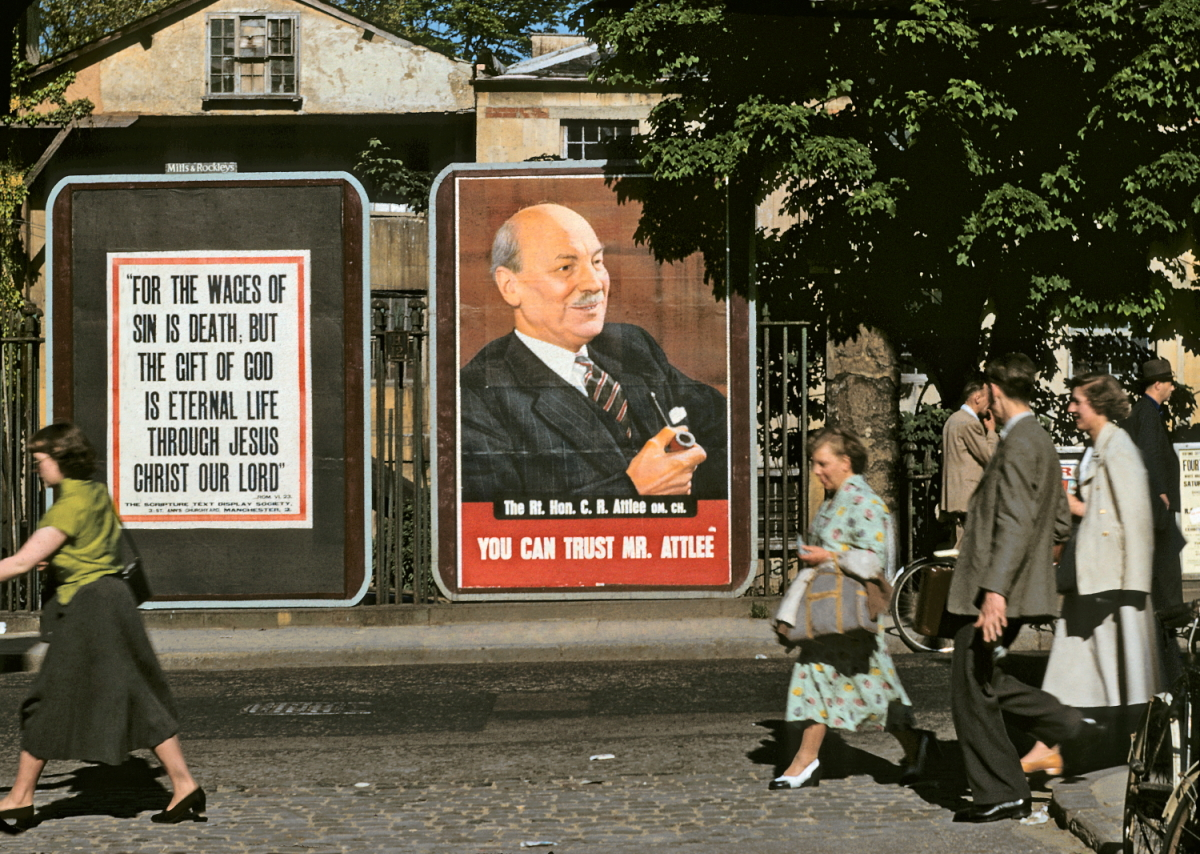 Kodachrome England 1950s Clement Atlee poster