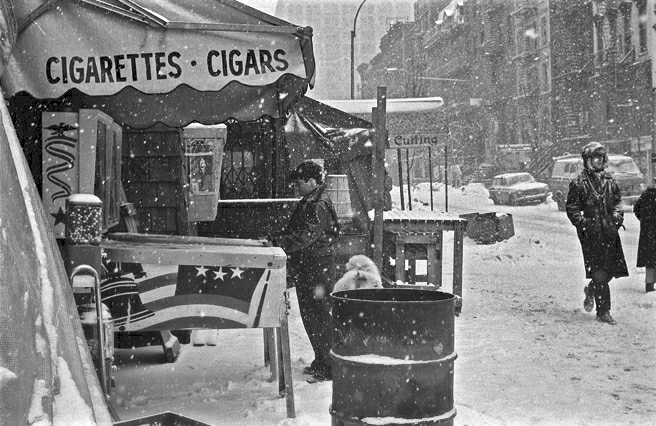 Snow in Manhattan 5 St. Mark's Place/2nd. Ave., East Village, Manhattan, NY 1978