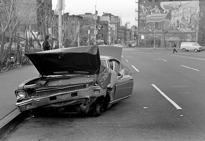 Destroyed car, 1976 Lower East Side, Manhattan, NY