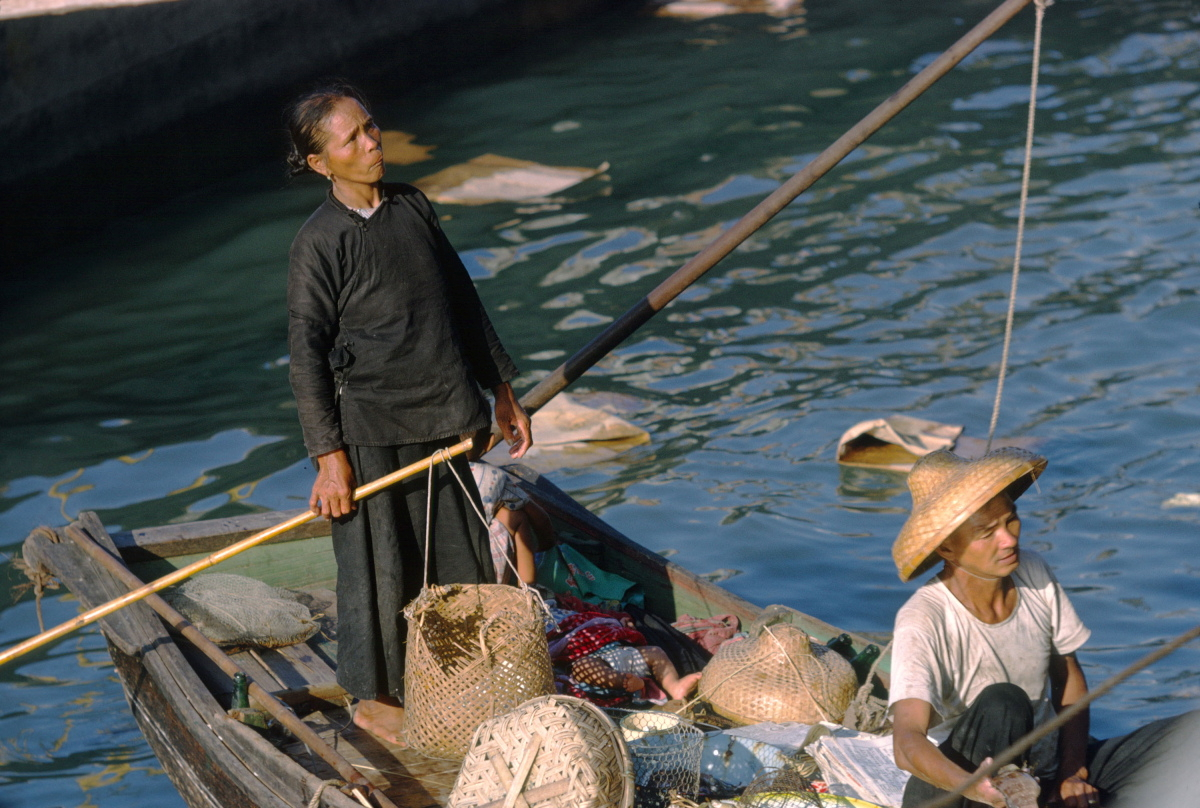Fish Selling Boat,Victoria Harbor,1962 Kodachrome
