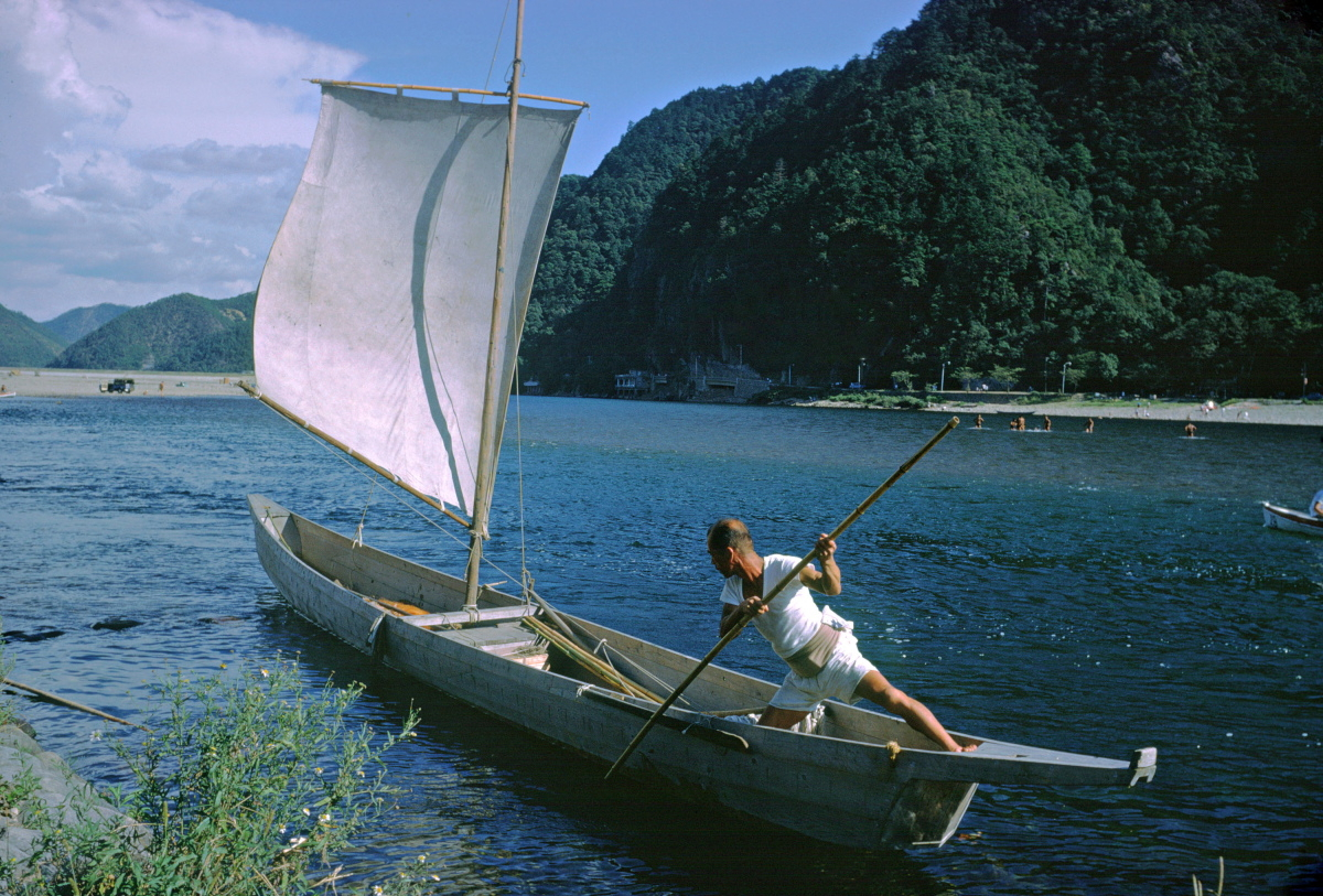 Fishing on Uji River,1962 Kodachrome