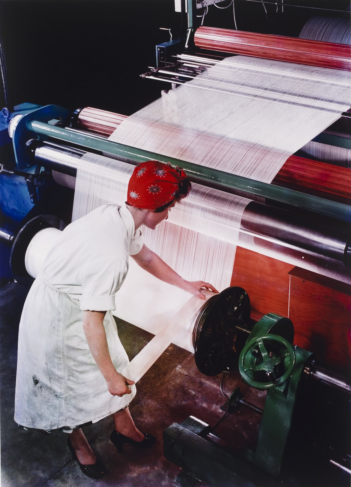 Preparing a Warp from Nylon Yarn, British NylonSpinners, Pontypool, Wales, 1964. Photograph: Victoria and Albert Museum, London/© Estate of Maurice Broomfield