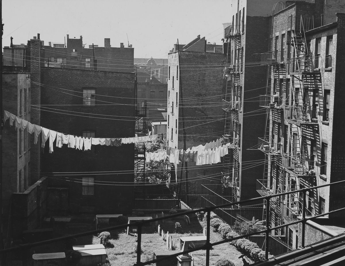 New York City 1940s 1950s 1946 Tenements and Graveyard from Chatham Square El Station.