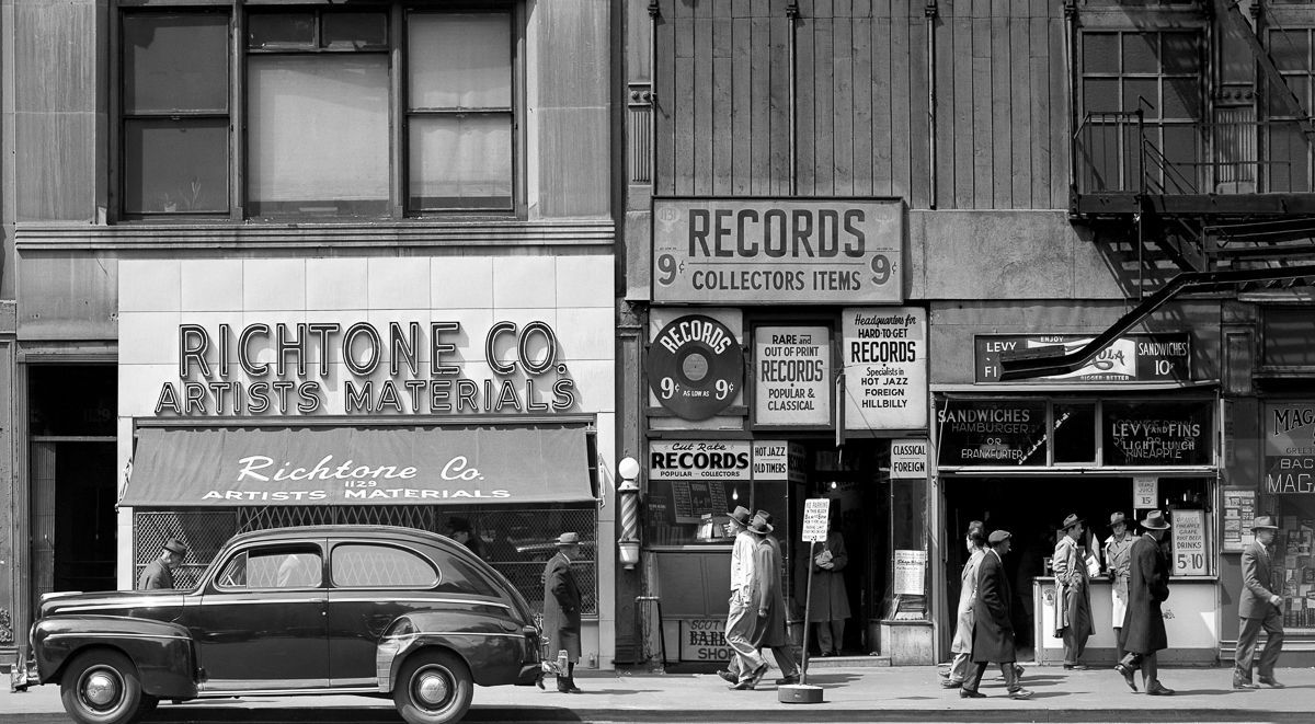 New York City 1940s 1950s 1948 Sixth Avenue between 43rd and 44th Streets