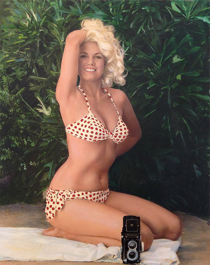 "Bunny Yeager, ""Self Portrait in Polka Dot Bikini with Rolleicord Camera,"" 1963, Hand painted fiber print, 20 x 16 in"