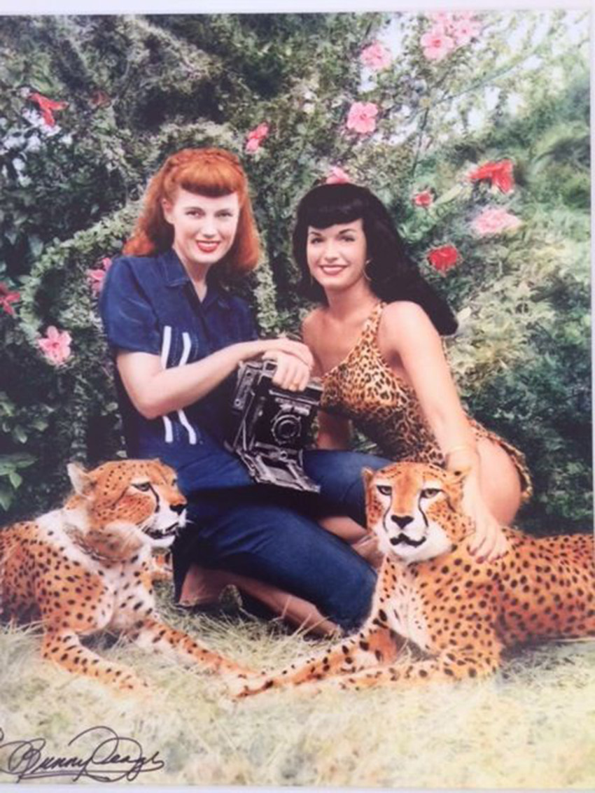 "Bunny Yeager, ""Bunny with Bettie Page and Cheetahs,"" 1954, Digital pigment print"