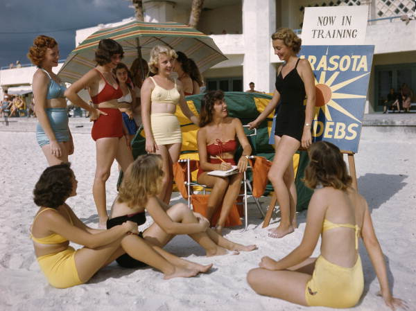 Title: Sarasota Sun-Debs training at Lido Beach, Florida Date: ca. 1949