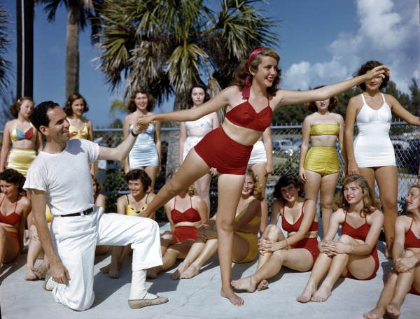 Title: Sarasota Sun-Debs training session at Lido Beach, Florida Date: ca. 1949