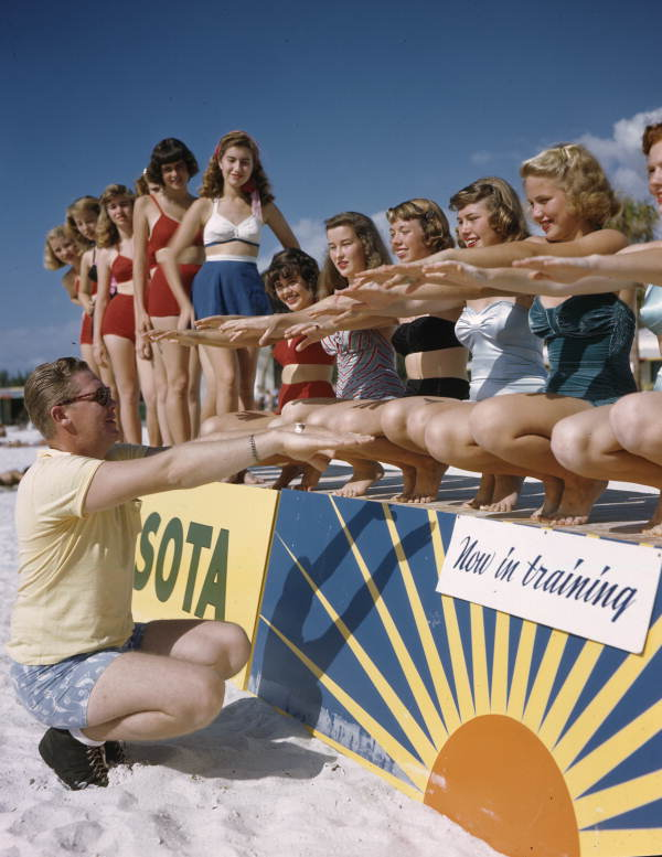 Title: Ballet instructor Ray Ross with the Sarasota Sun-Debs at Lido Beach, Florida Date: January 15, 1949