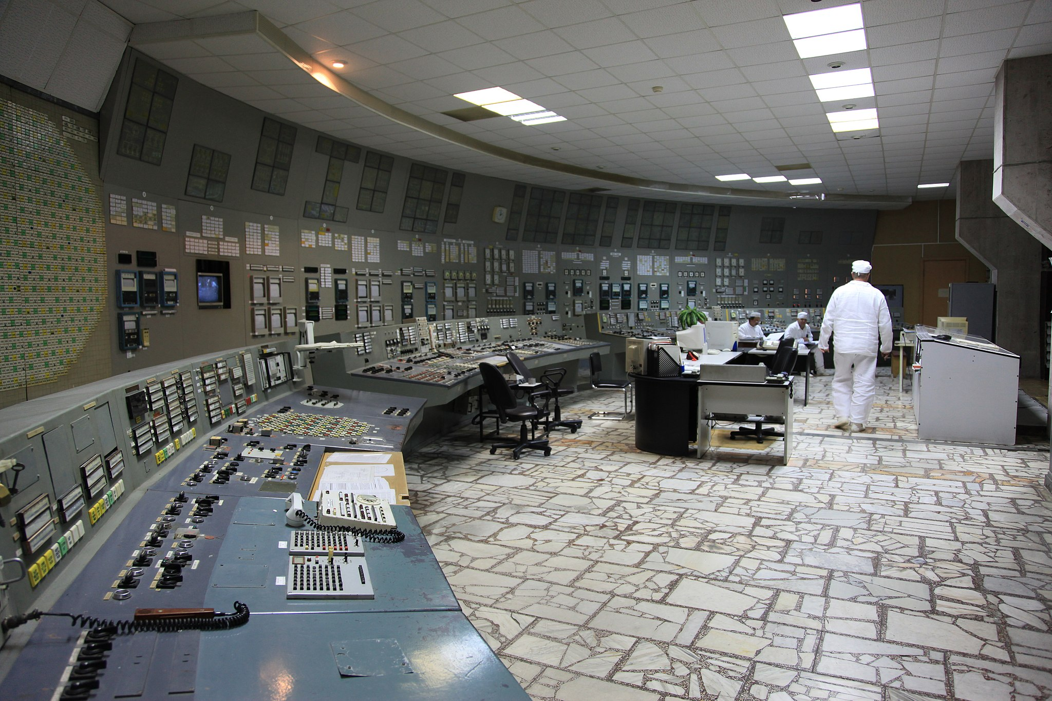 Interior view of the control room of Chernobyl Nuclear Power Plant unit 3. Over 3,000 people continue to work at Chernobyl to monitor nuclear fuel and carry out the decommissioning of the facility.