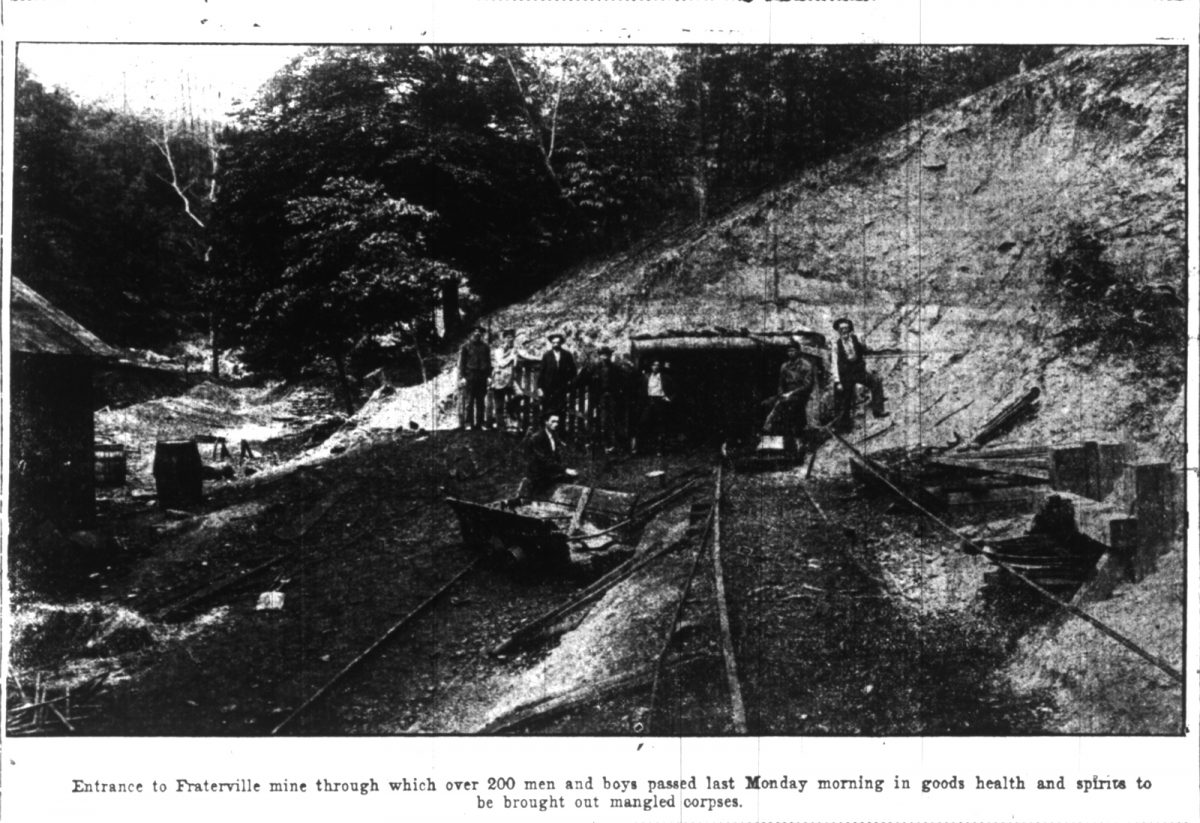 """""""Entrance to Fraterville mine through which over 200 men and boys passed last Monday morning in good health and spirits to be brought out mangled corpses."""" Journal and Tribune, May 23, 1902 Newspaper Microfilm"""