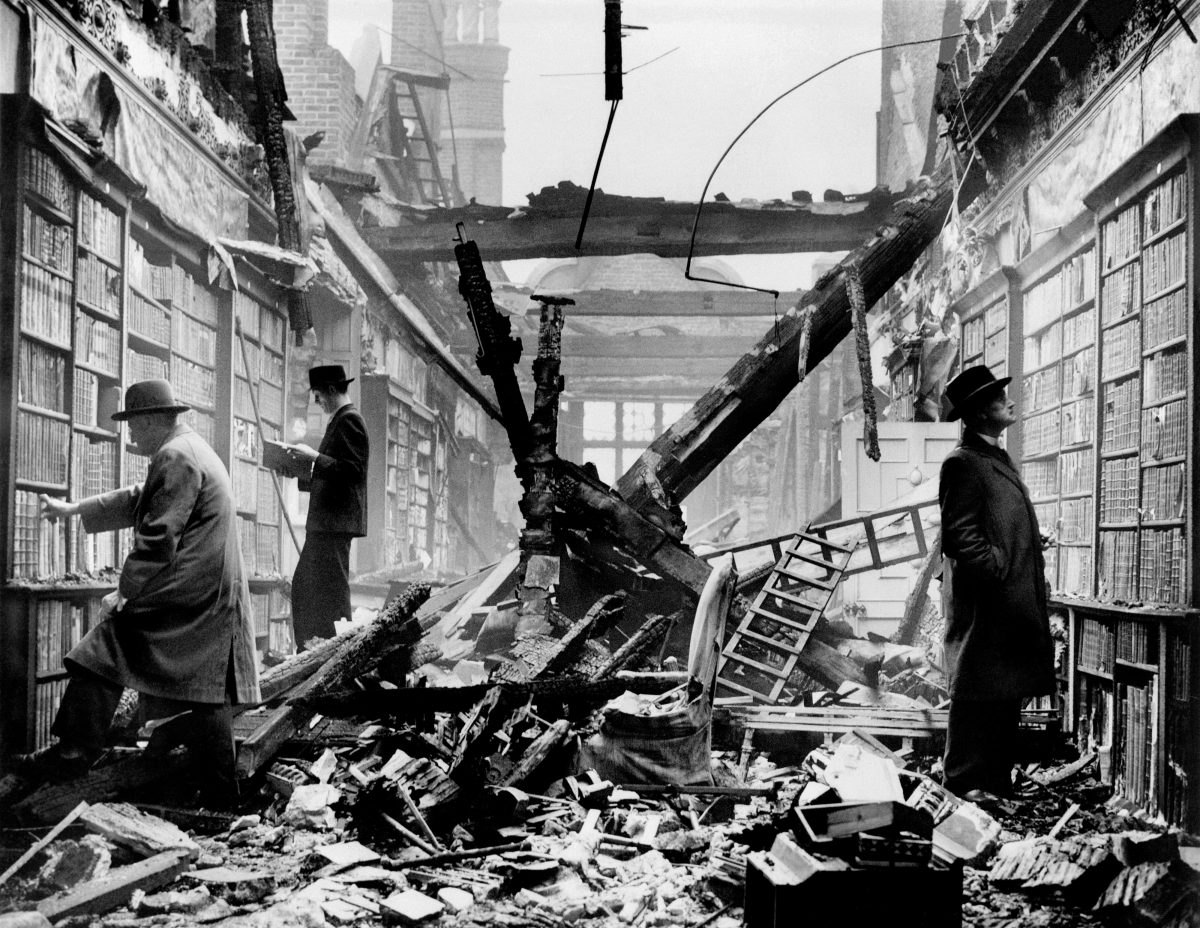 Holland House library after an air raid London 1940