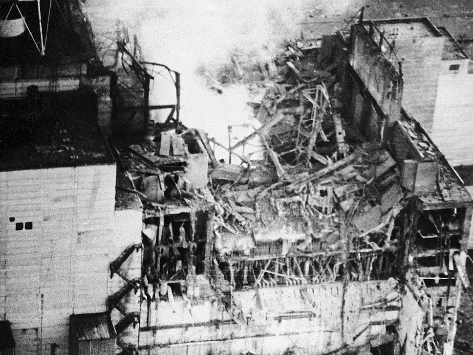 The Chernobyl reactor after the explosion on 26 April, 1986 – Belarus is keen to draw a line under the nuclear disaster's lingering impact ( Rex )
