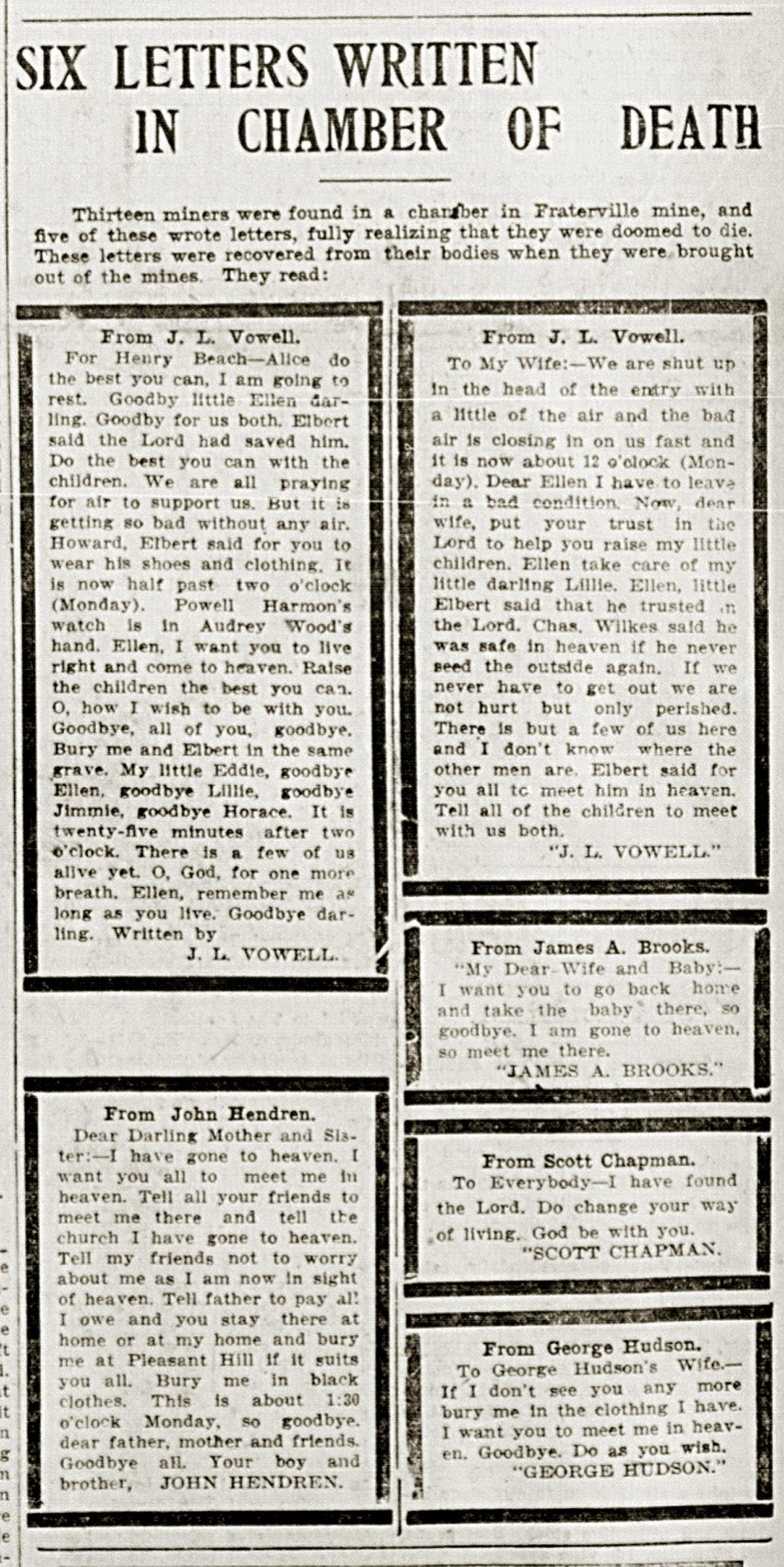 """""""Six Letters Written in Chamber of Death"""" Knoxville Sentinel, May 21, 1902 Newspaper Microfilm"""