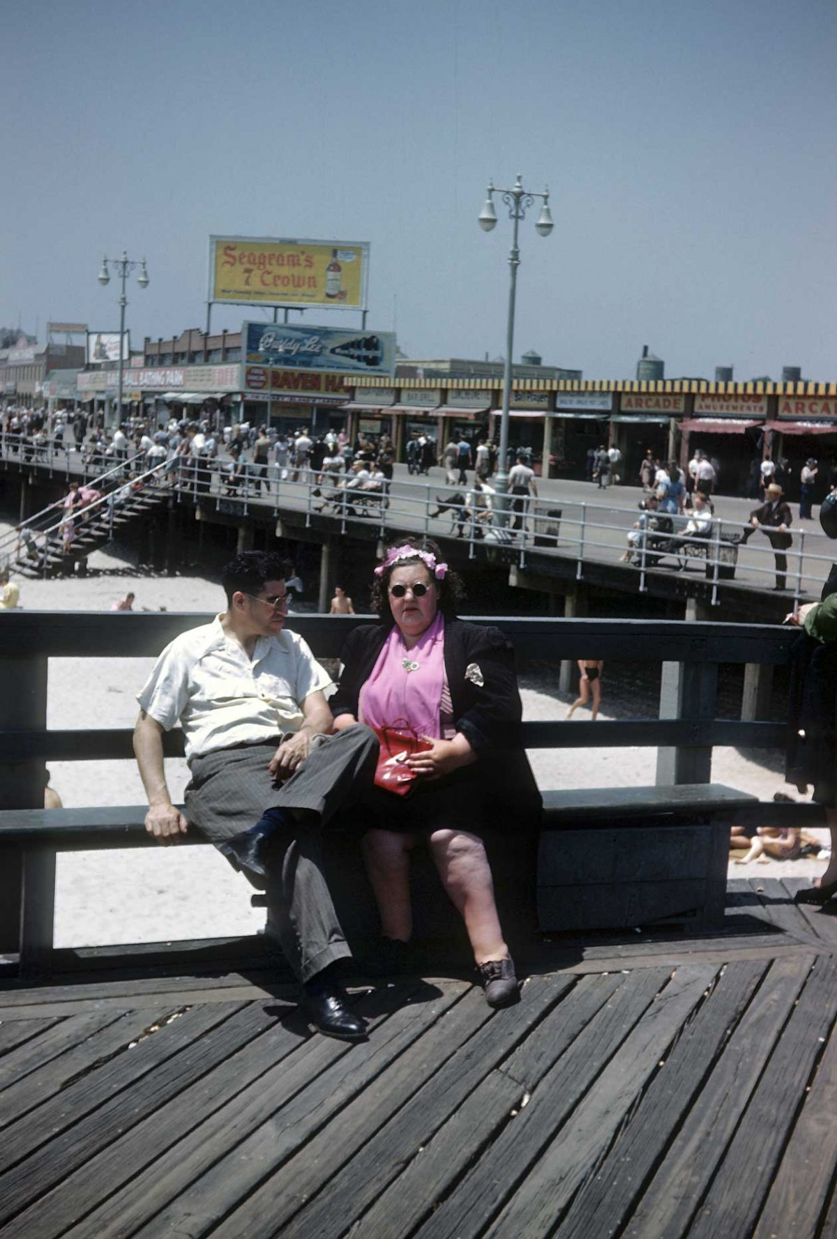 NEW YORK - CIRCA 1948: A view of the Coney Island Boardwalk and the beach circa 1948 in Brooklyn, New York City, New York. (Photo by Sherman Oaks Antique Mall/Getty Images)