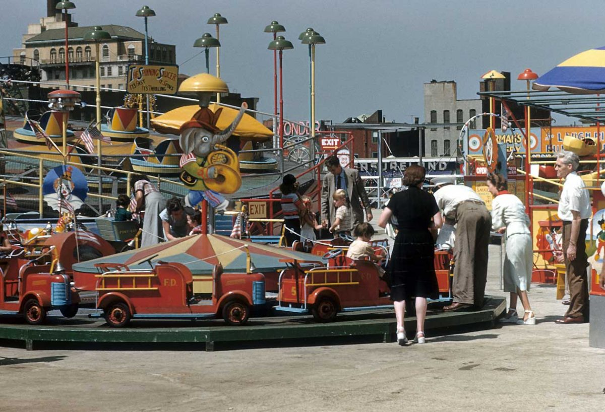 NEW YORK - CIRCA 1948: A view of Thew Spinning saucer and other rides at Coney Island circa 1948 in Brooklyn, New York City, New York. (Photo by Sherman Oaks Antique Mall/Getty Images)