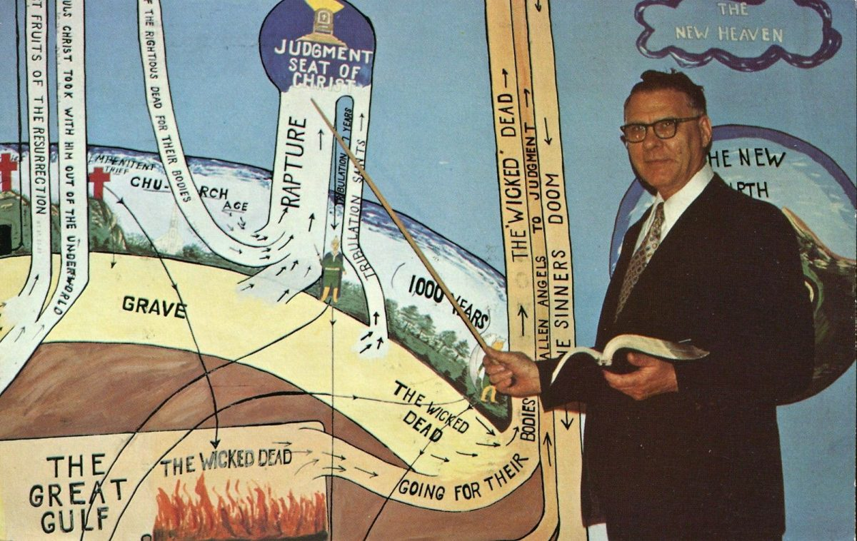 Evangelist Charles N. Curtis using Clarence Larkin Dispensational Charts to show the human pathway - Stewartville MN