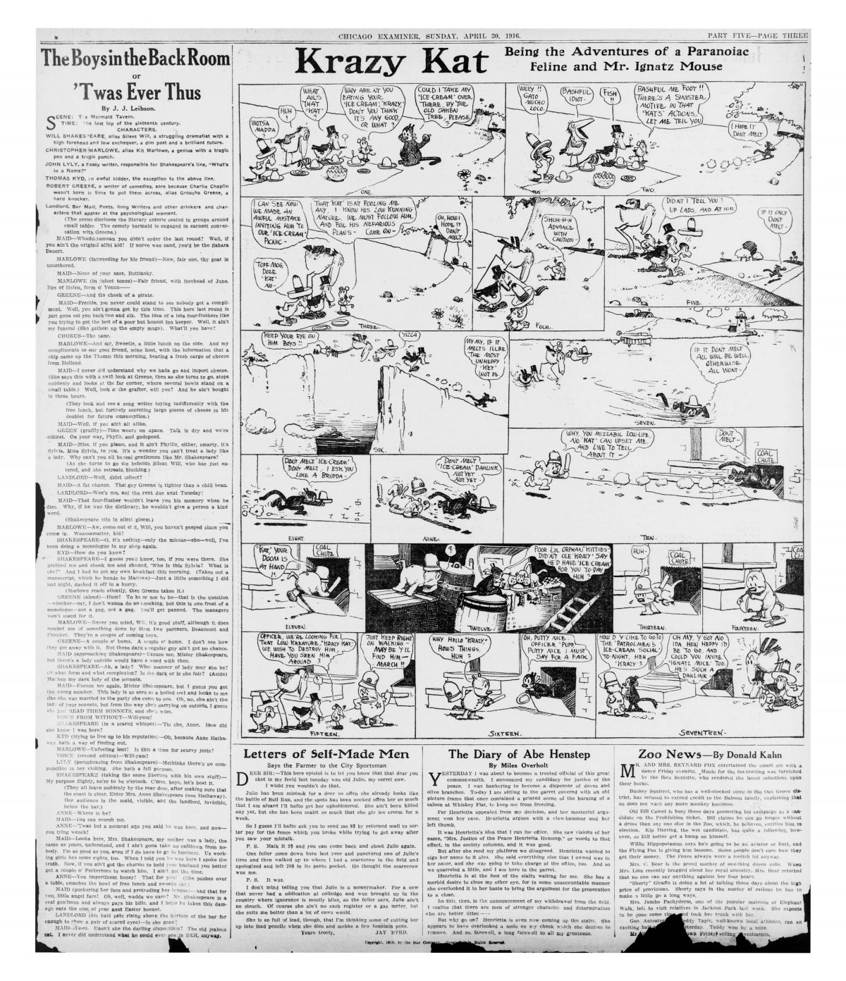 Krazy Kat - |Chicago Examiner April 30 1916