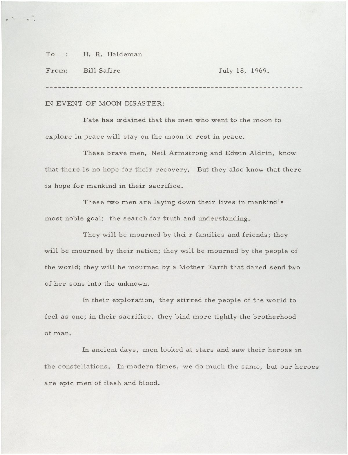 Statement for President Nixon to read in case the astronauts were stranded on the Moon, July 18, 1969.