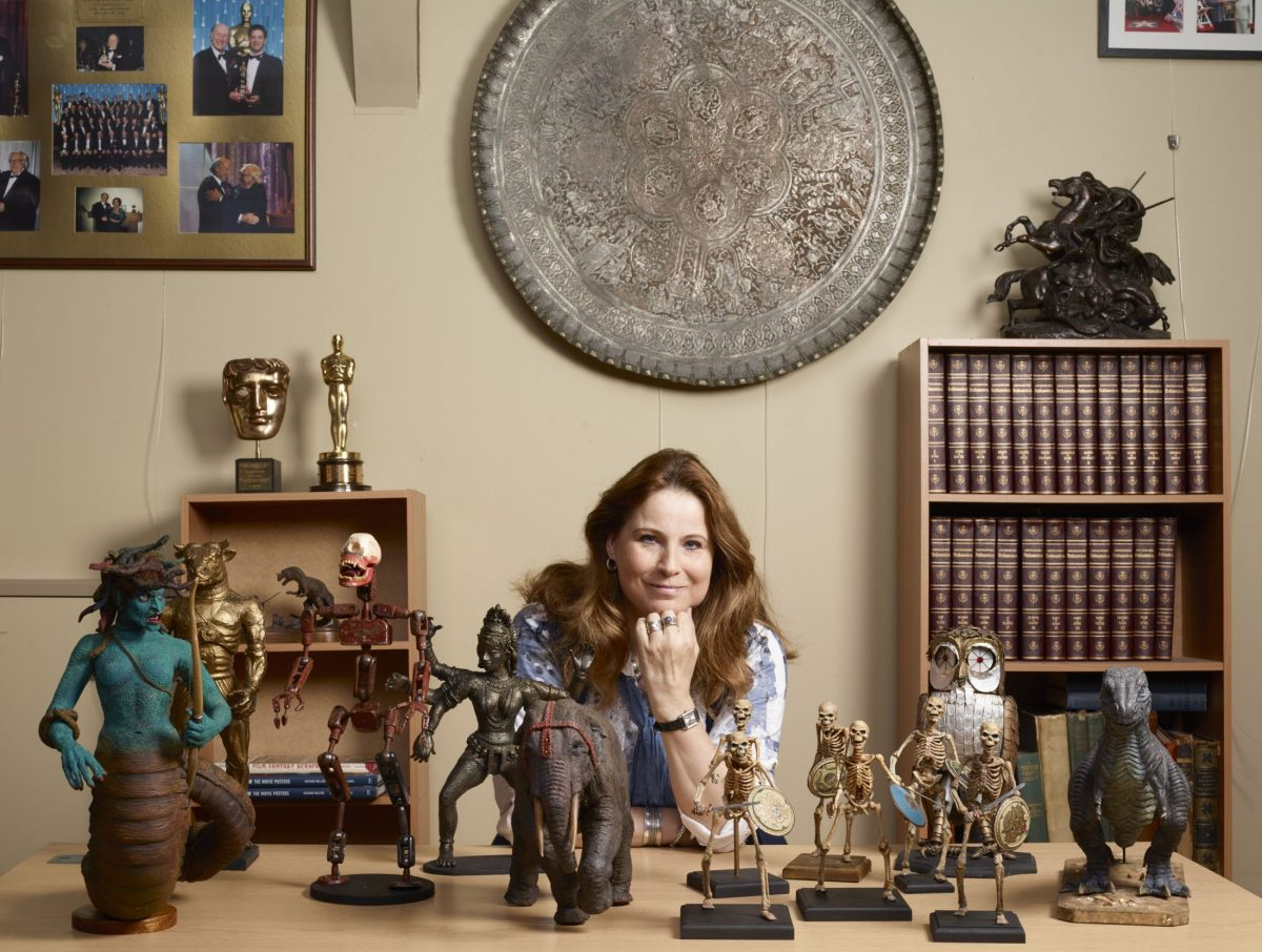 Vanessa Harryhausen with numerous models created by Ray Harryhausen (1920-2013). Collection: The Ray and Diana Harryhausen Foundation (Charity No. SC001419) © The Ray and Diana Harryhausen Foundation Photography: Sam Drake (National Galleries of Scotland)
