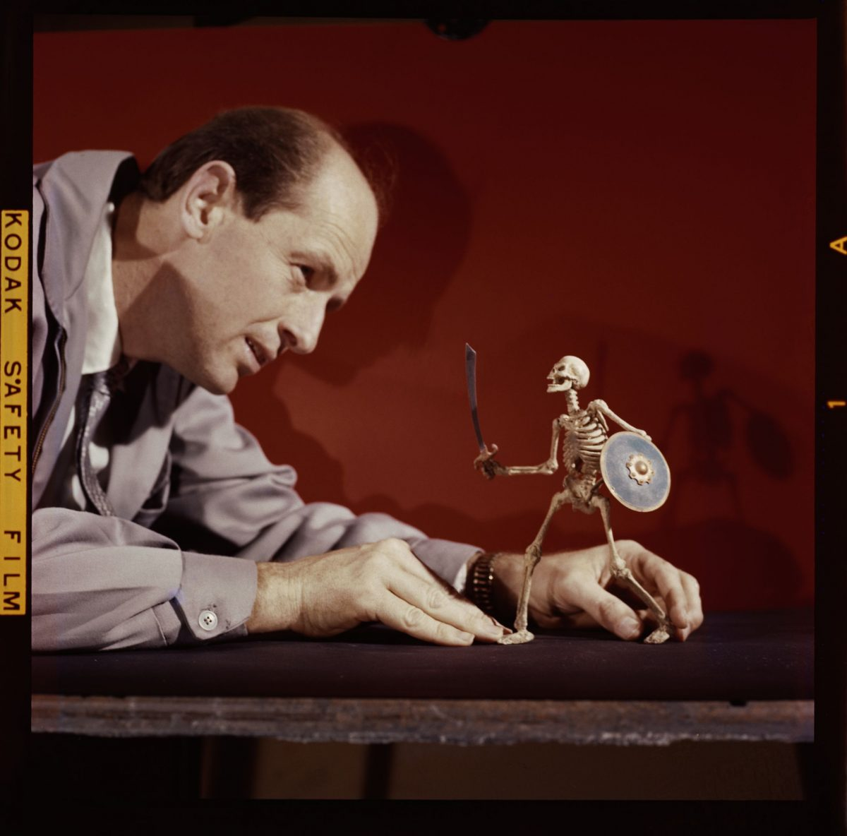 Ray Harryhausen (1920-2013) animating Skeleton model (The 7th Voyage of Sinbad, 1958) © The Ray and Diana Harryhausen Foundation (Charity No. SC001419)