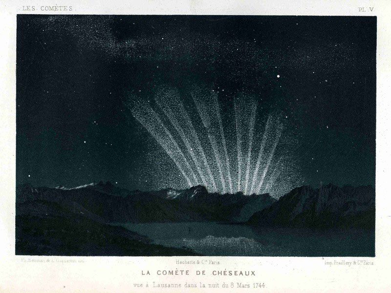 An illustration of the six-tailed Great Comet of 1744, observed before sunrise on March 9, 1744, from Les Comètes, by Amédée Guillemin