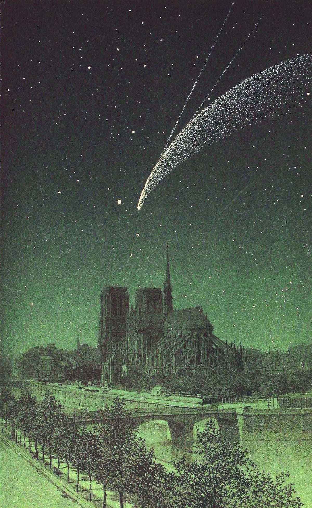 Comet Donati above Notre-Dame. Drawing published in The sky of Amédée Guillemin, fifth edition (1877), Hachette.