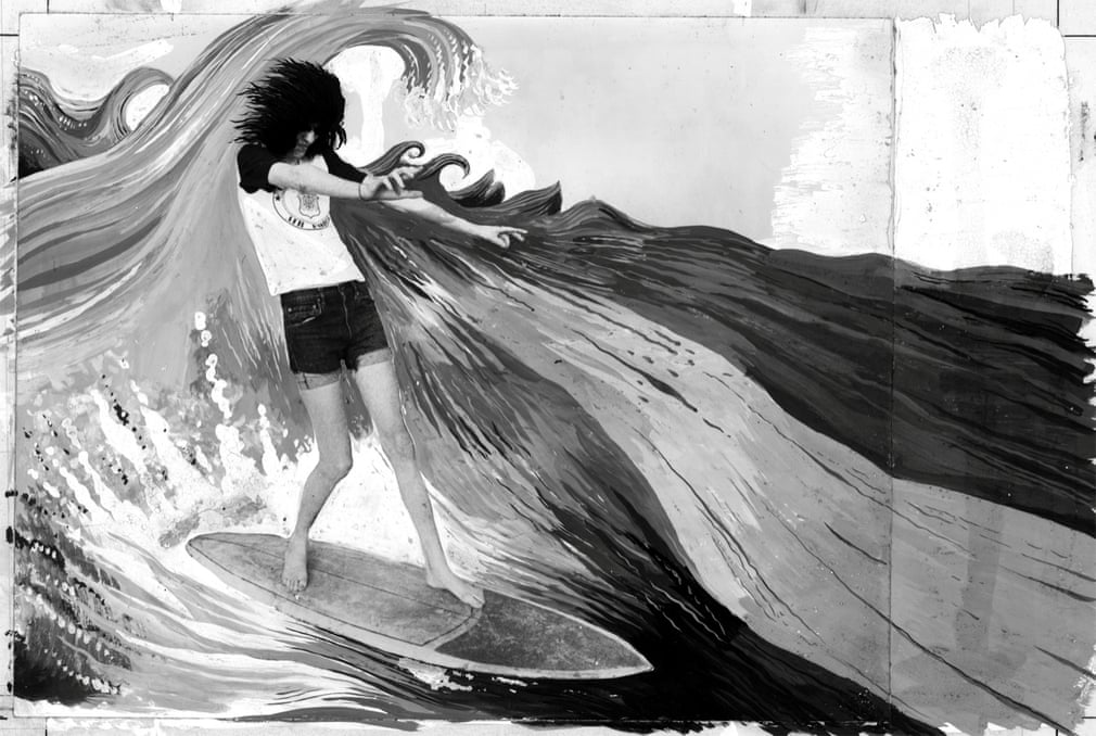 Joey Ramone Surfing on the Great Wave, 1977 (co-artist Bruce Carleton) Photograph- Roberta Bayley